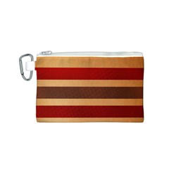 Vintage Striped Polka Dot Red Brown Canvas Cosmetic Bag (S)