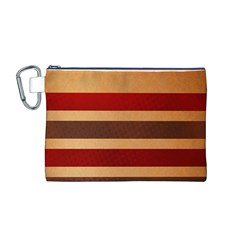 Vintage Striped Polka Dot Red Brown Canvas Cosmetic Bag (M)