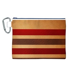 Vintage Striped Polka Dot Red Brown Canvas Cosmetic Bag (L)