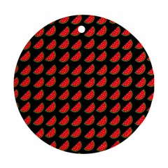 Watermelon Slice Red Black Fruite Round Ornament (Two Sides)