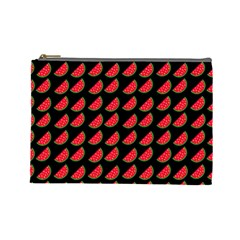 Watermelon Slice Red Black Fruite Cosmetic Bag (Large)