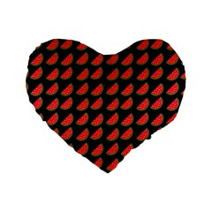 Watermelon Slice Red Black Fruite Standard 16  Premium Heart Shape Cushions
