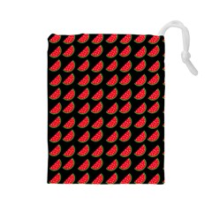 Watermelon Slice Red Black Fruite Drawstring Pouches (Large)