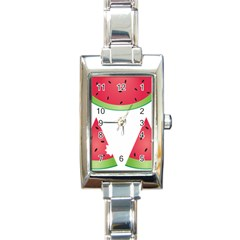 Watermelon Slice Red Green Fruite Rectangle Italian Charm Watch