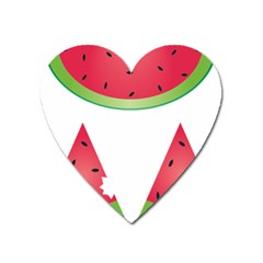 Watermelon Slice Red Green Fruite Heart Magnet