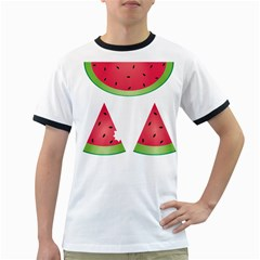 Watermelon Slice Red Green Fruite Ringer T-Shirts