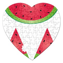 Watermelon Slice Red Green Fruite Jigsaw Puzzle (Heart)