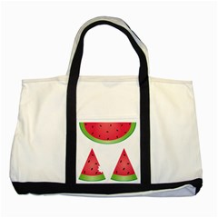 Watermelon Slice Red Green Fruite Two Tone Tote Bag