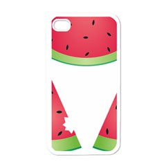 Watermelon Slice Red Green Fruite Apple iPhone 4 Case (White)