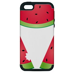 Watermelon Slice Red Green Fruite Apple iPhone 5 Hardshell Case (PC+Silicone)