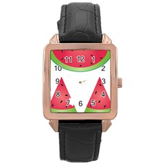Watermelon Slice Red Green Fruite Rose Gold Leather Watch