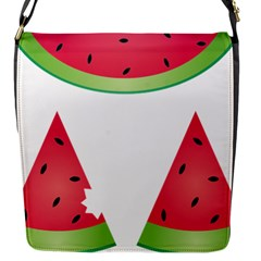 Watermelon Slice Red Green Fruite Flap Messenger Bag (S)