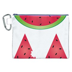 Watermelon Slice Red Green Fruite Canvas Cosmetic Bag (XXL)