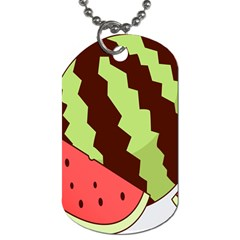 Watermelon Slice Red Green Fruite Circle Dog Tag (Two Sides)
