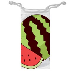 Watermelon Slice Red Green Fruite Circle Jewelry Bag
