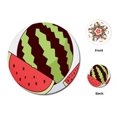 Watermelon Slice Red Green Fruite Circle Playing Cards (Round)