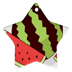 Watermelon Slice Red Green Fruite Circle Star Ornament (Two Sides)