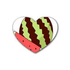 Watermelon Slice Red Green Fruite Circle Rubber Coaster (Heart)