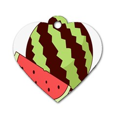 Watermelon Slice Red Green Fruite Circle Dog Tag Heart (Two Sides)