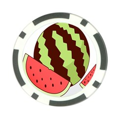 Watermelon Slice Red Green Fruite Circle Poker Chip Card Guard