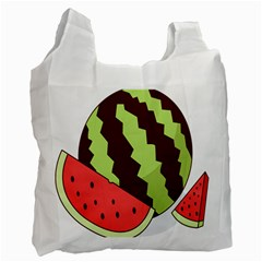 Watermelon Slice Red Green Fruite Circle Recycle Bag (Two Side)