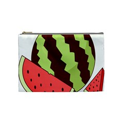 Watermelon Slice Red Green Fruite Circle Cosmetic Bag (Medium)