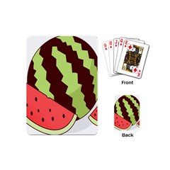 Watermelon Slice Red Green Fruite Circle Playing Cards (Mini)