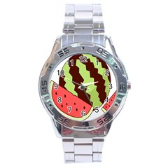Watermelon Slice Red Green Fruite Circle Stainless Steel Analogue Watch