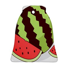 Watermelon Slice Red Green Fruite Circle Bell Ornament (Two Sides)