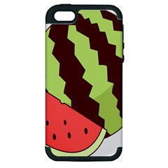 Watermelon Slice Red Green Fruite Circle Apple iPhone 5 Hardshell Case (PC+Silicone)