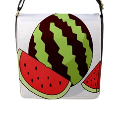 Watermelon Slice Red Green Fruite Circle Flap Messenger Bag (L)