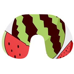 Watermelon Slice Red Green Fruite Circle Travel Neck Pillows