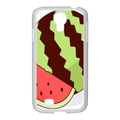 Watermelon Slice Red Green Fruite Circle Samsung GALAXY S4 I9500/ I9505 Case (White)