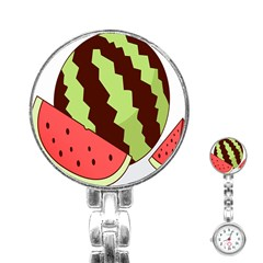 Watermelon Slice Red Green Fruite Circle Stainless Steel Nurses Watch