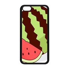 Watermelon Slice Red Green Fruite Circle Apple iPhone 5C Seamless Case (Black)