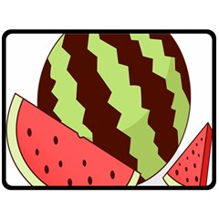 Watermelon Slice Red Green Fruite Circle Double Sided Fleece Blanket (Large)