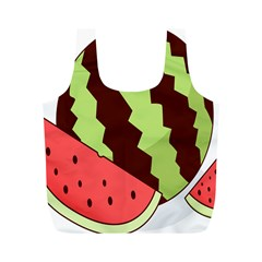 Watermelon Slice Red Green Fruite Circle Full Print Recycle Bags (M)