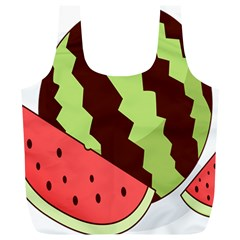 Watermelon Slice Red Green Fruite Circle Full Print Recycle Bags (L)