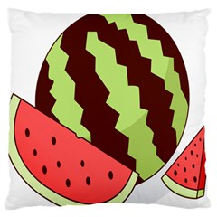 Watermelon Slice Red Green Fruite Circle Large Flano Cushion Case (One Side)