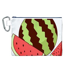 Watermelon Slice Red Green Fruite Circle Canvas Cosmetic Bag (L)