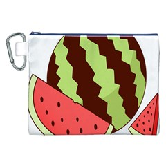 Watermelon Slice Red Green Fruite Circle Canvas Cosmetic Bag (XXL)