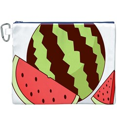 Watermelon Slice Red Green Fruite Circle Canvas Cosmetic Bag (XXXL)