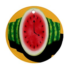 Watermelon Slice Red Orange Green Black Fruite Time Round Ornament (Two Sides)
