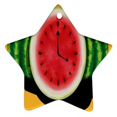 Watermelon Slice Red Orange Green Black Fruite Time Star Ornament (Two Sides)
