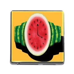 Watermelon Slice Red Orange Green Black Fruite Time Memory Card Reader (Square)