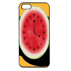 Watermelon Slice Red Orange Green Black Fruite Time Apple iPhone 5 Seamless Case (Black)