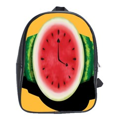 Watermelon Slice Red Orange Green Black Fruite Time School Bags (XL)