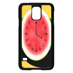 Watermelon Slice Red Orange Green Black Fruite Time Samsung Galaxy S5 Case (Black)
