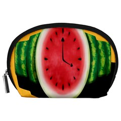 Watermelon Slice Red Orange Green Black Fruite Time Accessory Pouches (Large)