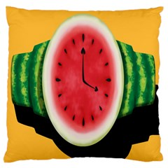 Watermelon Slice Red Orange Green Black Fruite Time Large Flano Cushion Case (Two Sides)